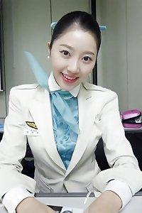 asian air hostess stretching gash